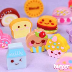 Kawaii Yummy Eraser Set - Series 4 This cute set includes 6 different food and candy shaped mini erasers. Cupcakes, burgers, biscuits and others. Each of them is around 3 x 3 x 1 cm. This series has 3 different sets available. Fimo Kawaii, Kawaii Cute, Kawaii Stuff, Kawaii Things, Eraser Collection, Cupcake Collection, Office Deco, Cool Erasers, Crea Fimo