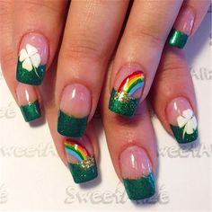 Patrick's Day Nails – 66 Best St. Patrick's Day Nail Art – Nail Art HQ Informations About my ideas Pin You can easily … Fancy Nails, Trendy Nails, Diy Nails, Cute Nails, Glitter Nails, Nail Nail, Nail Polish, Nail Designs Spring, Nail Art Designs