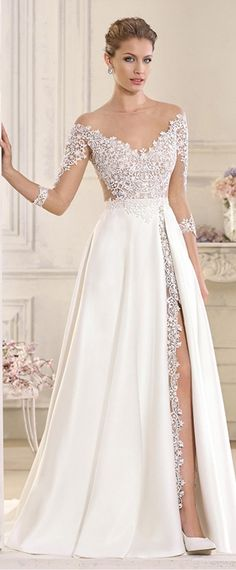 Stunning Tulle & Satin Bateau Neckline See-through A-Line Wedding Dresses With Lace Appliques