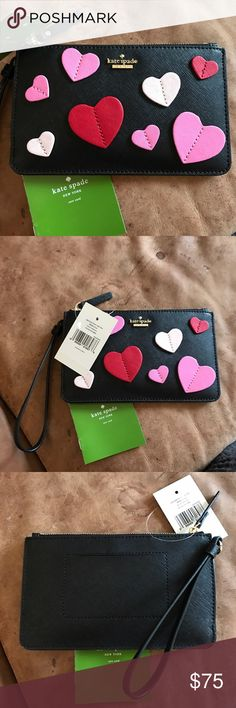 KATE SPADE-SECRET ADMIRER-LARGE WRISTLET-in black This would be a GREAT 🎁 gift for Valentines Day!! It is black with pink and red hearts with black all over. This is from Kate Spade's Secret Admirer Collection. This are ALL SOLD OUT EVERYWHERE!!! Grab it while you can!! kate spade Bags Clutches & Wristlets