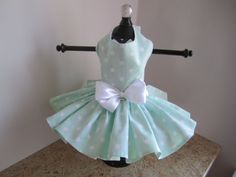 Dog Dress XS Mint Stars By Nina's Couture by NinasCoutureCloset
