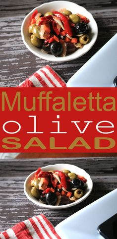 This Muffaletta Olive Salad is a delicious sandwich topping or great served as a side salad. Think of it as a relish bar recipe salad. Delicious.