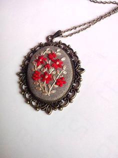 Bordado joyas regalo para mamá bordado flor collar collares