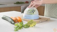 The Salad Maker will help you prepare a salad in just 60 seconds.In preparing a delightful salad, it usually takes more effort to slice and takes time on rinsing. But this Salad Maker is a highly recommended product for all ve. Salad Maker, Healthy Snacks, Healthy Recipes, Healthy Eating, Seafood Salad, Cooking Gadgets, Kitchen Gadgets, Healthy Vegetables, World Recipes