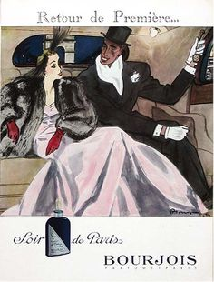 """By Mourgue, 1 9 4 6,  Bourjois Parfums, French advertisment page from famed publication """"L'Illustration""""."""