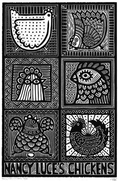 Nancy Luce's chickens. Nancy Luce the chicken lady of Martha's Viney… - printmaking Illustration Photo, Illustrations, Linoleum Block Printing, Creation Art, Chicken Art, Linoprint, Galo, Sgraffito, Wood Engraving