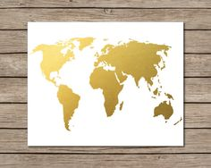 World Map Printable  INSTANT DOWNLOAD Printable  gold by CraftMei, $4.95