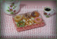 Box with donuts dollhouse miniature 12th scale by DidisMiniature