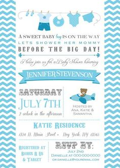 Baby Shower Invitation  Clothing Line for boy  by BellePrintables, $12.50