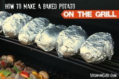 How to Make a Baked Potato On the Grill. The easiest (and tastiest!) way to cook a potato. www.SeeMomClick.com