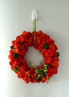 aus Lampionblumen Floral Wreath, Wreaths, Jewelry, Home Decor, Paper Lanterns, Crown Cake, Autumn, Flowers, Homemade Home Decor