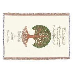 """From This Day ForwardThis elegant blanket is sure to be treasured by the bride and groom as a gift on their wedding day or at the shower. It also makes a wonderful anniversary gift! Highly detail tree with the words above it """"From this day forward you will not walk alone. My arms will be your shelter and my heart will be your home."""" Under the tree the blanket is personalized with the names of the bride and groom along with their wedding date."""