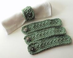 Ready to Ship Sage Green Cotton Napkin Rings Set by BrooklinGirl
