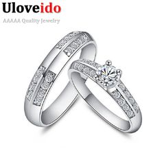 Find More Rings Information about Uloveido 2016 Love Promise Couple Rings Silver Wedding Ring Pair Vintage Anel For Women Men CZ Diamonds Jewelry Acessorios J511,High Quality ring mug,China ring bob Suppliers, Cheap ring pigeon from Ulovestore Jewelry on Aliexpress.com