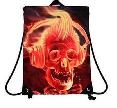 Teen/Adult Backpacks - Mojo Big Face Flame DJ Sling - Drawstring Bag