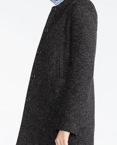 GREY WOOL COAT-Coats-Outerwear-WOMAN   ZARA Croatia
