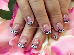Zebra+tips+with+freehand+flower+nail+art