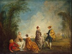 An Embarrassing Proposal - Jean-Antoine Watteau. Oil on canvas. 65 x 85 cm. The State Hermitage Museum, St. Francisco Goya, Jean Antoine Watteau, Ex Libris, Carpeaux, Oil On Canvas, Canvas Art, Art Français, Hermitage Museum, Sebastian Bach