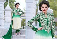 Indian Bollywood Designer White&Bottle Green anarkali by Lootvila, $95.99