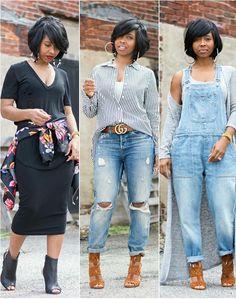Lookbook, Spring outfit idea, Summer Outfit Idea, denim overalls, Gucci belt, all black outfit, boyfriend jeans, Bob haircut. Instagram:  sweeneestyleblogger