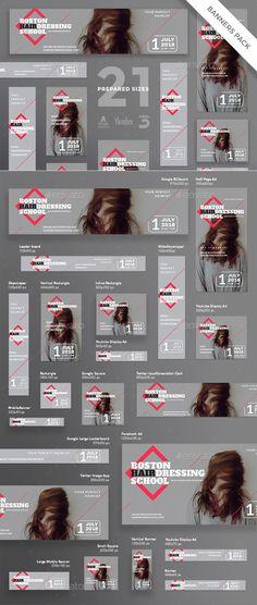 Hairdressing School Banner Template PSD, Vector EPS