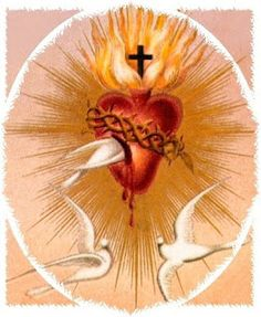This holy card of Doves and The Sacred Heart of Jesus was cherished by St Therese of Lisieux, France photo ThisholycardofDovesandTheSacredwasc. Cross Pictures, Jesus Pictures, Catholic Art, Religious Art, Sacred Heart Tattoos, Jesus E Maria, Vintage Holy Cards, St Therese Of Lisieux, Religious Pictures