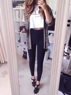 long sleeve top + crop + high waisted jeans