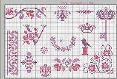 little birdie and sweet details Cross Stitch Samplers, Counted Cross Stitch Patterns, Cross Stitch Designs, Cross Stitching, Cross Stitch Embroidery, Small Cross Stitch, Cross Stitch Flowers, Le Blog De Vava, Blackwork