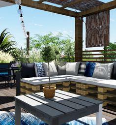 Agencement paysager de style Cap Ferret sur un toit terrasse à ...