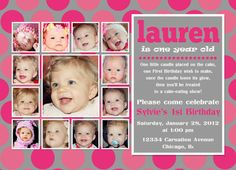 Collage First Birthday Invitation by InvitingPrintables on Etsy, $19.00