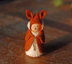 Red Fox Doll Gnome Dressed As Fox Red Fox Waldorf by gingerlittle, $26.00