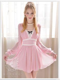 Mango Doll - Pink V-Neck Chiffon Dress, $59.99 (http://www.mangodoll.com/all-items/pink-v-neck-chiffon-dress/)