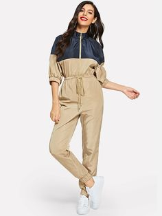 Shop Two Tone Drawstring Waist O-ring Zip Jumpsuit online. SHEIN offers Two Tone Drawstring Waist O-ring Zip Jumpsuit & more to fit your fashionable needs. Maxi Romper, Pink Jumpsuit, Rompers Women, Jumpsuits For Women, Drawstring Waist, Clubwear, Fashion News, Ideias Fashion, My Style