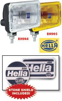HELLA Rectangular Fog Lamp Kits  Add auxiliary head on lighting to your truck with complete kits from Hella for a dramatic look and added functionality. Each Kit includes two lamps with parabolic reflectors and 12V 55W halogen bulbs , two stone shields, wiring harness, switch, and complete mounting hardware. Driving lights suitable for 12/24V operation, 24V bulb sold separately.