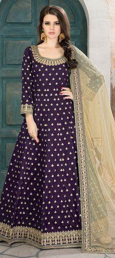f94277aae03 1504784  Wedding Purple and Violet color Salwar Kameez in Taffeta Silk  fabric with Abaya