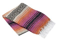 Hot Pink, Orange and Tan Mexican Blanket