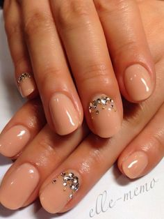 nude nails with a beautiful rhinestone design