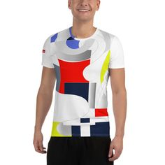 A t-shirt perfect for all kinds of workouts. Its moisture management and anti-microbial qualities are sure to keep athletes dry and comfortable even during the most vigorous of workouts. Mesh Fabric, Spandex Fabric, Fabric Weights, Athlete, Workout, T Shirt, Tops, Fashion, Supreme T Shirt