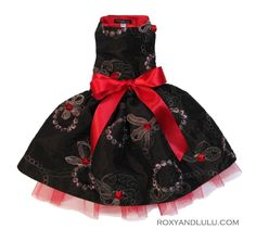 Luxury Pet Fashion - Ribbons and roses embroidered dog gown. www.lucymedeiros.com