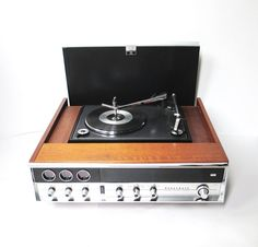 Vintage Panasonic Record Player Stereo Console. My first stereo looked very similar to this one.