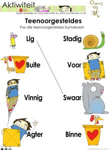 Teenoorgsteldes Aktiwiteit vir graad 1 Activities For Boys, Preschool Learning Activities, Classroom Activities, Kids Learning, Teaching Resources, Grade R Worksheets, Afrikaans Language, Education Certificate, Thing 1
