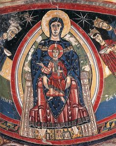 Virgin of San Clemente de Tahull ~ 1123 ~ Romanesque painter ~ Catalan fresco ~ National Art Museum of Catalonia (MNAC) ~ Barcelona.