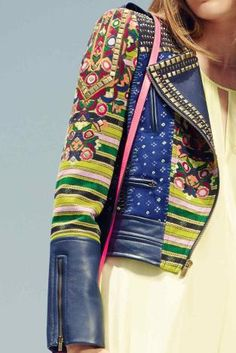 xx..tracy porter..poetic wanderlust..-Embellished bohemian leather & print jacket.  WGSN s/s 2014.