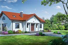 Projekt domu Chmielów 94,74 m2 - koszt budowy - EXTRADOM Home Fashion, Mansions, House Styles, Home Decor, Living Room, Decoration Home, Manor Houses, Room Decor, Villas