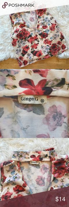 🌹Floral choker crop top🌹 This brand is ginger G it's a beautiful floral crop top size medium worn and washed once. ginger g Tops Crop Tops