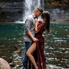 Waterfall engagement photoshoot #engagement #waterfall #photoshoot #adventure #wanderlust #optoutside #brooklynclaudiaphotography