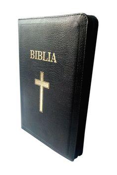 Biblia de lux, medie, din piele, neagra, cu index, aurita, fermoar, cu cruce [SI 057 PFI]