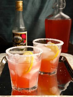 Rhubarb Rosewater Margarita - Sweet-Tart Cocktail Recipe with Rhubarb Syrup, Lemon & Exotic Rosewater #cincodemayo #mexican #happyhour