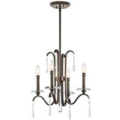 Kichler 43287 Tara 4 Light Single-Tier Candle-Style Chandelier Olde Bronze Indoor Lighting Chandeliers Mini Chandeliers