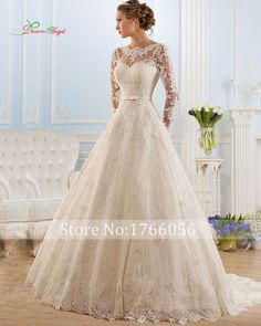 Vestido De Noiva Fashion Wedding Gowns Elegant Bride Dress Vintage Long Sleeve A Line Lace Wedding Dresses 2017 Robe de Mariage